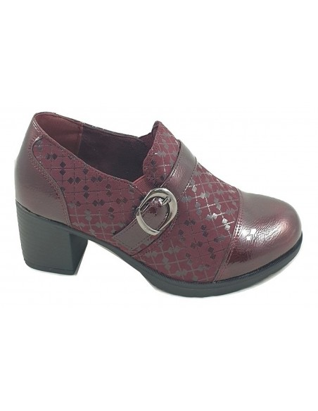 Timbos Shoes - 122976 Women's Wide Heel Moccasin in Wine Color, No Laces, Patent Leather Material with Textile