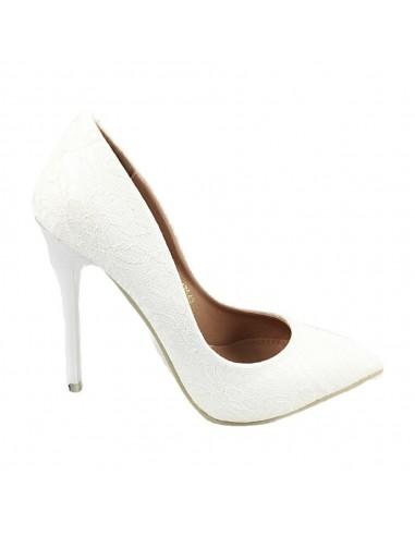 Timbos Zapatos - 118283 Salón Tacón Novia para Mujer, Color Blanco, Material Grabado, Cierre sin Cordones, Colección Novias