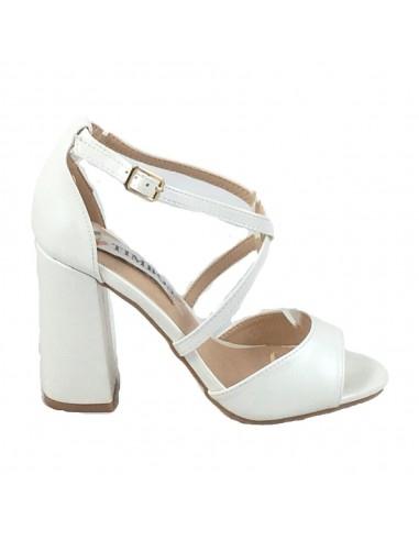 Timbos Zapatos - 120375 Tacón Novia para Mujer, Color Blanco Perla, Material Polipiel, Cierre Hebilla, Colección Novias