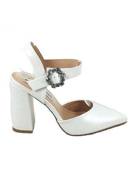 Timbos Zapatos - 120377 Tacón Novia para Mujer, Color Blanco, Material Polipiel, Cierre Hebilla, Colección Novias