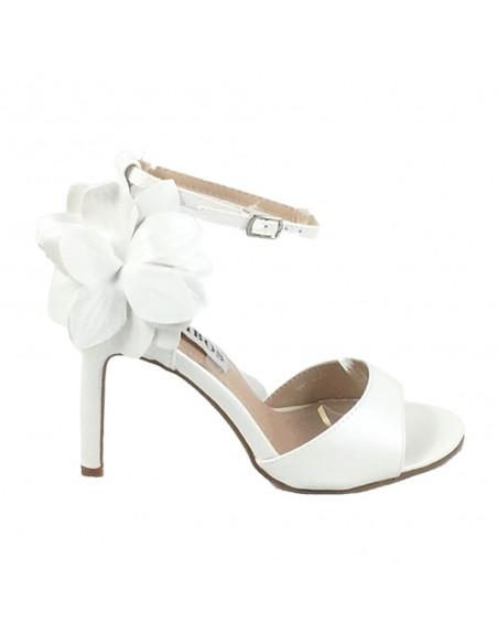 Timbos Zapatos - 120150 Sandalia Tacón Novia para Mujer, Color Blanco, Material Polipiel, Cierre Hebilla, Colección Novias