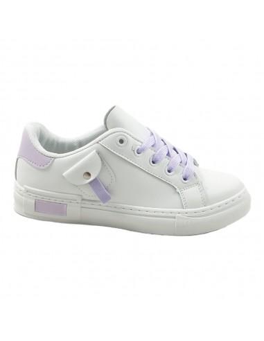 TIMBOS - 123219 Deportivo para Mujer, Color Blanco/Purpura, Material Polipiell, Cierre Cordones, Colección Verano